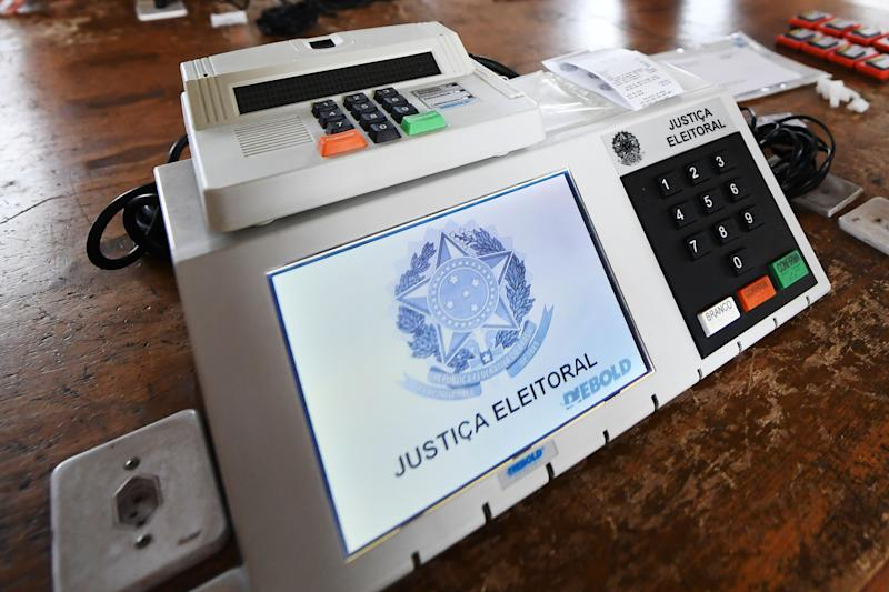 Picture of an electronic voting machine for Brazil's upcoming general election, taken at the Electoral Court in Brasilia on September 19, 2018. - Brazil will hold elections for president, governors, senators and deputies on October 7. (Photo by EVARISTO SA / AFP) (Photo credit should read EVARISTO SA/AFP via Getty Images)