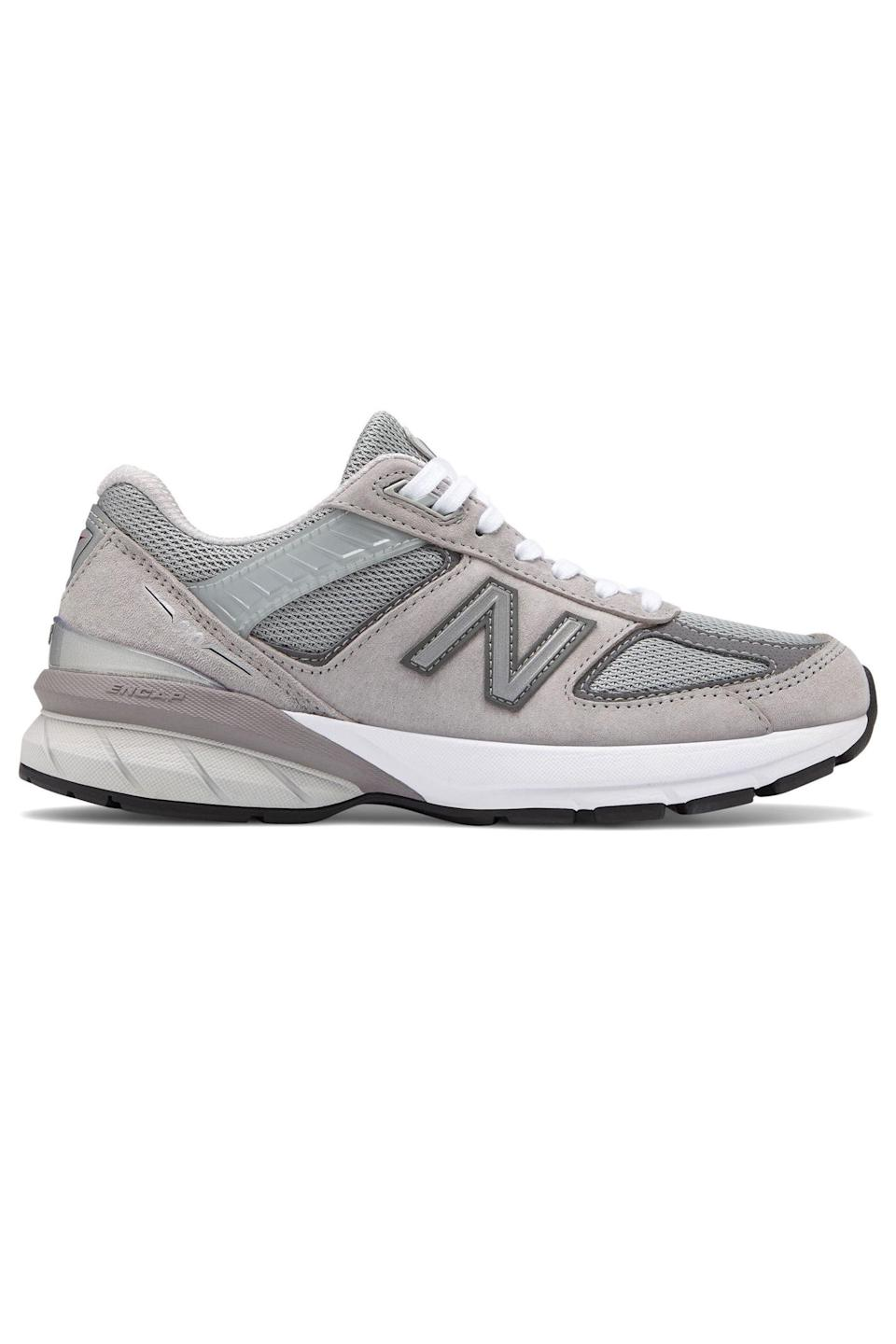 """<p><strong>New Balance</strong></p><p>amazon.com</p><p><strong>$174.95</strong></p><p><a href=""""https://www.amazon.com/dp/B0791VNMLJ?tag=syn-yahoo-20&ascsubtag=%5Bartid%7C10063.g.34824549%5Bsrc%7Cyahoo-us"""" rel=""""nofollow noopener"""" target=""""_blank"""" data-ylk=""""slk:Shop Now"""" class=""""link rapid-noclick-resp"""">Shop Now</a></p><p>Few dad sneakers are more iconic or podiatrist-loved than New Balance's 990 V5 sneaker. (Yes, this is the sneaker you've been seeing <a href=""""https://www.elle.com/fashion/shopping/a32333620/isolation-new-balance-sneakers/"""" rel=""""nofollow noopener"""" target=""""_blank"""" data-ylk=""""slk:all over Instagram since quarantine"""" class=""""link rapid-noclick-resp"""">all over Instagram since quarantine</a>.) Zoe Kravitz, Kaia Gerber and Rosie Huntington-Whitely are just a few of the celebs who've been photographed by the 'paps wearing the chunky anti-It shoe this year. </p>"""