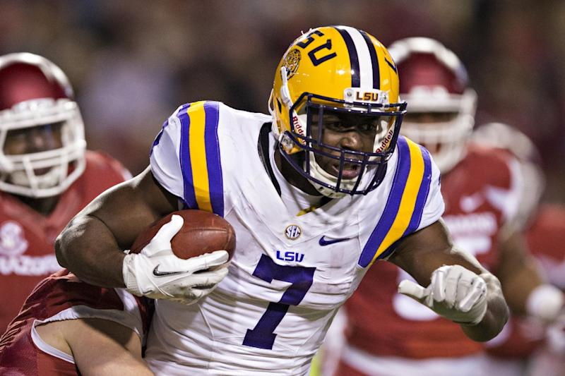 Leonard Fournette plowed his way into SEC folklore with his running style at LSU. (Getty Images)