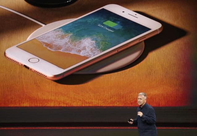 <p>And like the iPhone X, you can wirelessly charge the iPhone 8 and 8 Plus on any Qi charger. REUTERS/Stephen Lam </p>