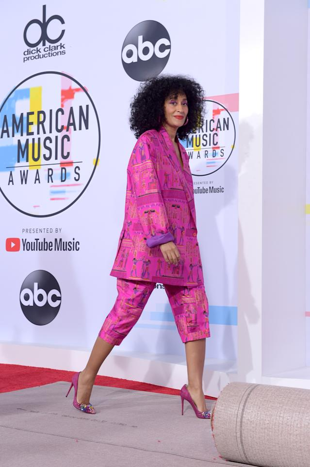 <p>She attended the AMAs rehearsal in a hot pink suit by Amsterdam-based designer Selam Fessahaye. [Photo: Getty] </p>
