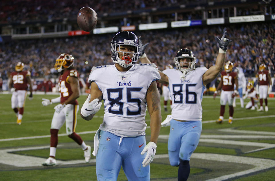 MyCole Pruitt's late touchdown saved a big win for the Titans. (AP)