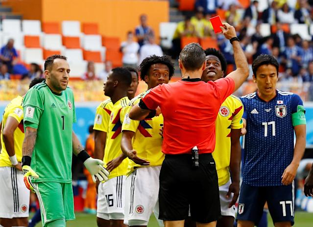 Referee Damir Skomina sends of Colombia's Carlos Sanchez in its 2018 World Cup opener against Japan. (Reuters)