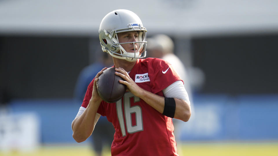Detroit Lions quarterback Jared Goff throws during an NFL football training camp practice in Allen Park, Mich., Saturday, July 31, 2021. (AP Photo/Paul Sancya)