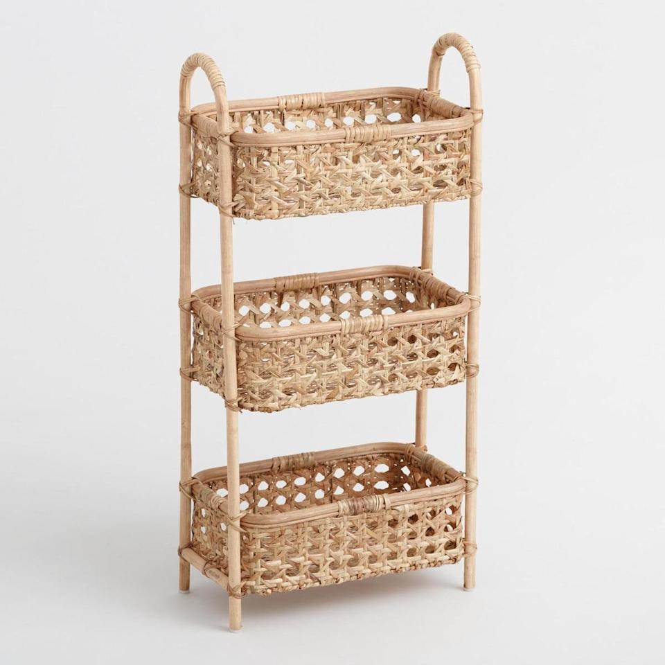 """<p>For Black Friday, World Market is offering 40 percent off all—yes, all!—furniture sitewide. Among the many stylish options is this trendy rattan storage tower, which can be used to hold toiletries in the bathroom or books and magazines beside your bed. </p> <p><strong>To buy: </strong>$78 (originally $130), <a href=""""http://www.anrdoezrs.net/links/7876406/type/dlg/sid/RS%2CTheBestOrganizersonSaleThisBlackFriday%2Ckholdefehr1271%2CORG%2CIMA%2C685802%2C201911%2CI/https://www.worldmarket.com/product/natural-rattan-cane-3-tier-farrah-storage-tower.do?"""" target=""""_blank"""">worldmarket.com</a>. </p>"""