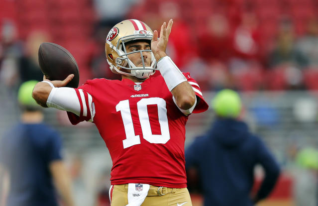 San Francisco 49ers quarterback Jimmy Garoppolo finally got in a game and threw his first touchdown with the team. (AP)