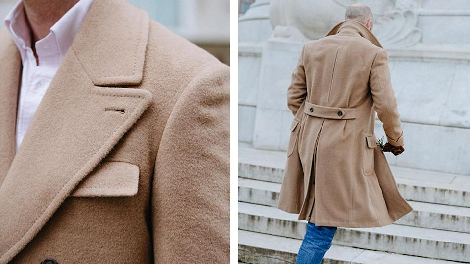 Details of the coat's hand-stitched seams and pleated back.