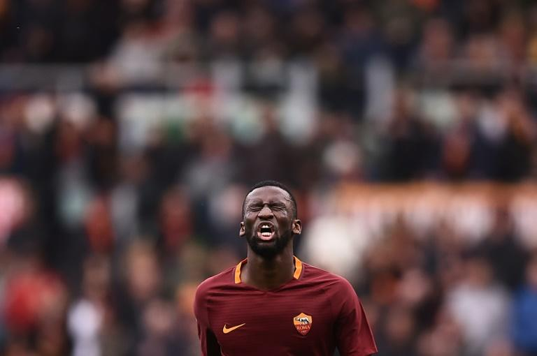 Roma's defender Antonio Rudiger reacts at the end of the Italian Serie A football match against Napoli on March 4, 2017