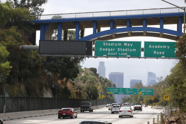 The Dodgers have a bold, new idea to get around traffic jams on the way to the park. (AP Photo)