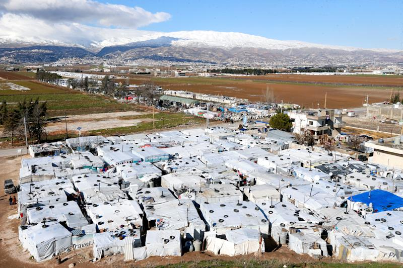 FILE PHOTO: A general view of tents at a camp in Bar Elias