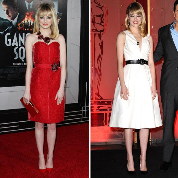 <b>Emma Stone </b><br><br>The Gangster Squad actress dazzled in a red Lanvin dress at the film's LA premiere and an Andrew Gn SS13 frock to announce the Oscar nominations.<br><br>Images © Rex