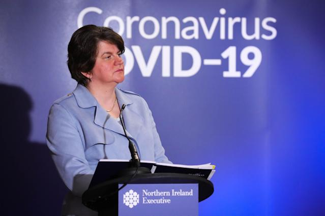 Arlene Foster said different households in Northern Ireland can now meet outside in gatherings of four to six people. (AP)
