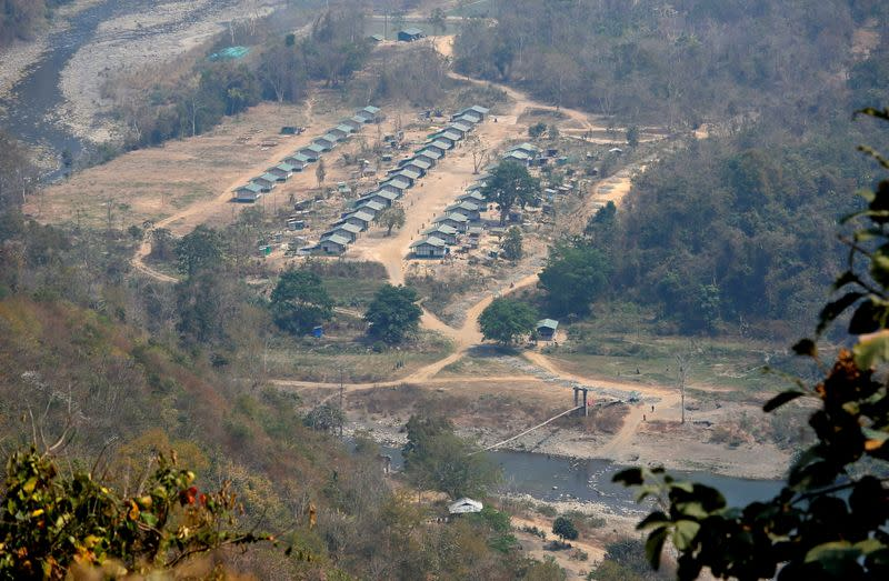 FILE PHOTO: A general view of a camp of the Myanmar ethnic rebel group Chin National Front is seen on the Myanmar side of the India-Myanmar border close to the Indian village of Farkawn