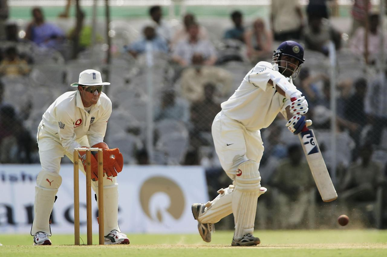 BARODA, INDIA - FEBRUARY 24:  Gautam Gambhir of the Presidents XI hits out on his way to a century during day two of the three day warm up match between the Presidents XI and England  at the IPCL ground on February 24, 2006 in Baroda, India.  (Photo by Tom Shaw/Getty Images)