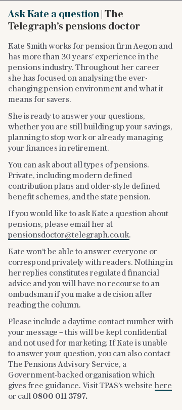 Ask Kate a question | The Telegraph's pensions doctor