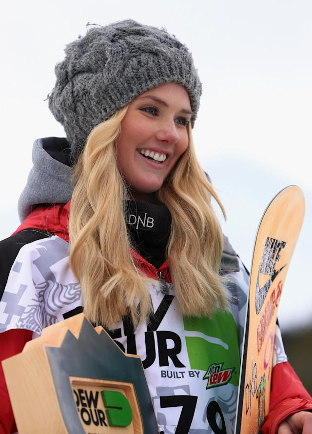 BRECKENRIDGE, CO - DECEMBER 13: Silje Norendal of Norway takes the podium in third place in the women's snowboard slopestyle at the Dew Tour iON Mountain Championships on December 13, 2013 in Breckenridge, Colorado. (Photo by Doug Pensinger/Getty Images)