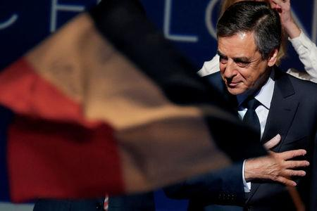 Francois Fillon, 2017 presidential election candidate of the French centre-right leaves after delivering a speech at a campaign rally in Aubervilliers