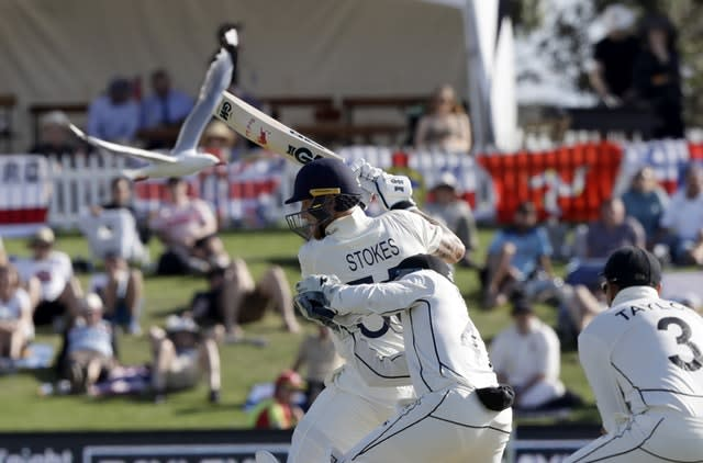 England's Ben Stokes bats during play on day one of the first cricket test (Mark Baker/AP)