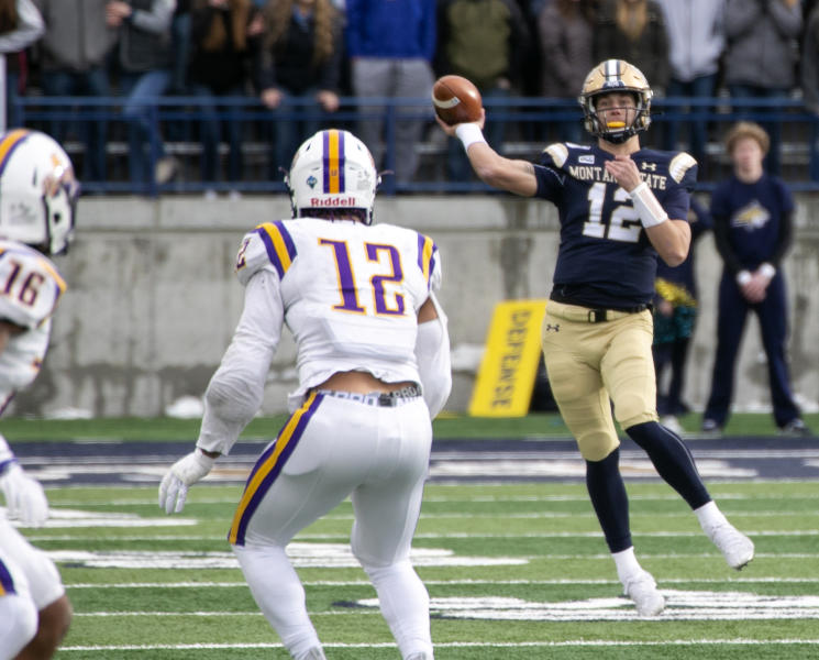 Montana State's Tucker Rovig throws a pass against Albany during a second-round game in the NCAA Football Championship Subdivision playoffs Saturday, Dec. 7, 2019, in Bozeman, Mont. (Ryan Berry/Bozeman Daily Chronicle via AP)