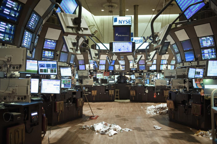 The empty Trading Floor of the NYSE after the market has closed.