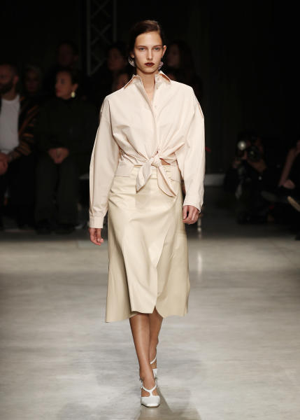 A model wears a creation as part of the Drome women's Spring Summer 2020 collection, unveiled during the Fashion Week in Milan, Italy, Sunday, Sept. 22, 2019. (AP Photo/Antonio Calanni)