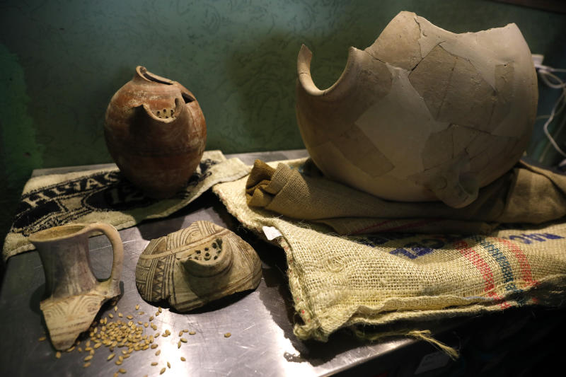 Ancient jars are on display during a press conference in Jerusalem, Wednesday, May 22, 2019. Israeli researchers celebrated Wednesday a long-brewing project of making beer and mead using yeasts extracted from ancient clay vessels -- some over 5,000 years old. Archaeologists and microbiologists teamed up to study yeast colonies found in microscopic pores in pottery fragments. The shards were found at Egyptian, Philistine and Judean archaeological sites in Israel spanning from 3,000 BC to the 4th century BC. (AP Photo/Sebastian Scheiner)