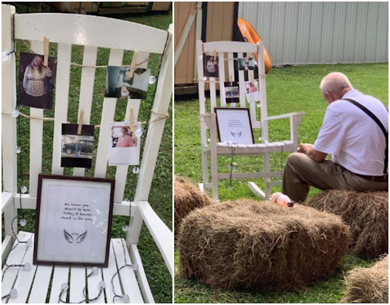 viral photo of grandfather sitting with tribute to late wife at wedding