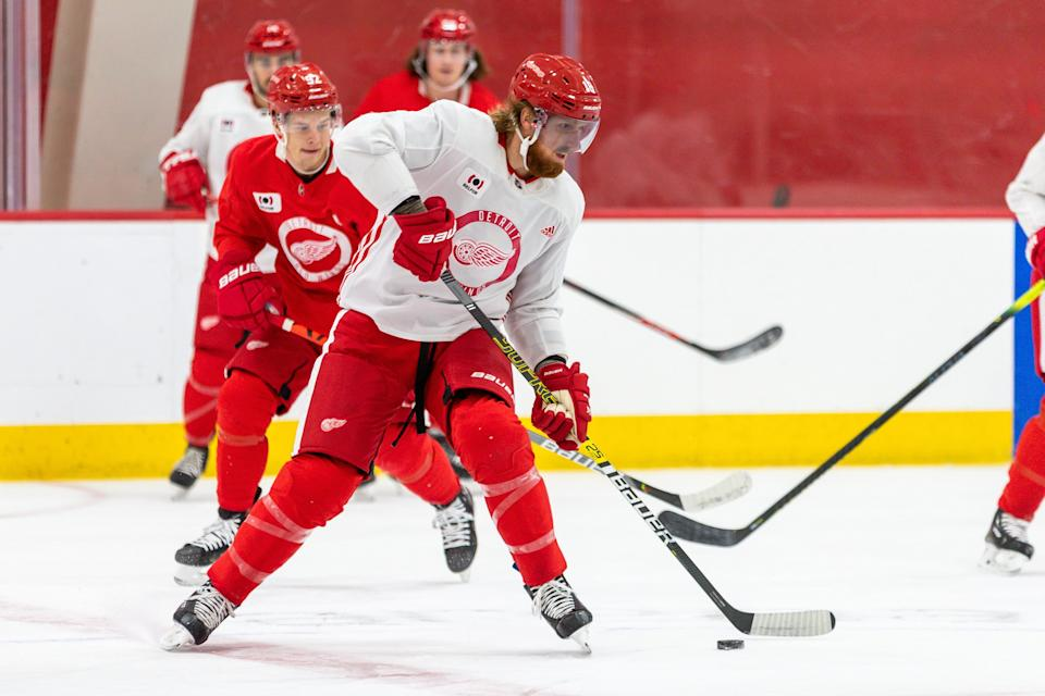 Detroit Red Wings' Marc Staal during the first training camp practice at the Little Caesars Arena practice rink, Jan. 1, 2021.