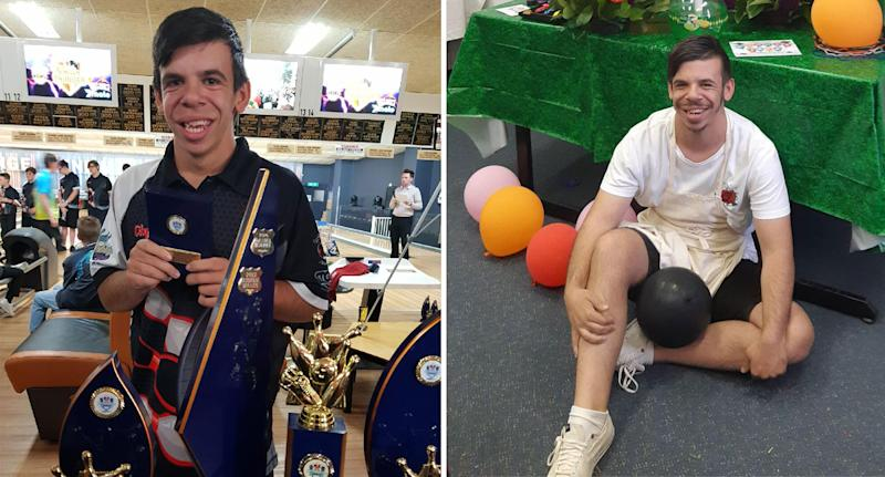 Sydney man with Williams Syndrome Stefan Males pictured with his bowling awards on the left and with balloons on the right.