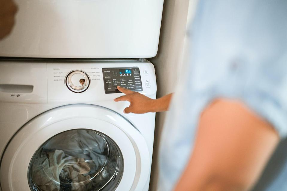 <p>Water heating uses up a ton of energy, and if your clothes don't require a warm wash (most don't), this is a great way to save energy and lower your electric bill. Get your roommates on board by having a sit-down chat about this so you're all on the same page whenever someone does laundry, as it's just a push of a button for cold water! </p>