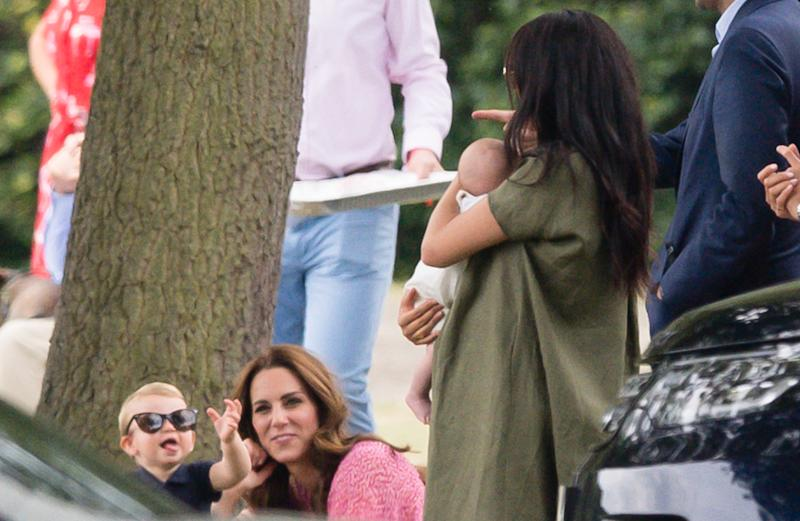 WOKINGHAM, ENGLAND - JULY 10: Meghan, Duchess of Sussex, Archie Harrison Mountbatten-Windsor, Catherine, Duchess of Cambridge and Prince Louis attend The King Power Royal Charity Polo Day at Billingbear Polo Club on July 10, 2019 in Wokingham, England. (Photo by Samir Hussein/WireImage)