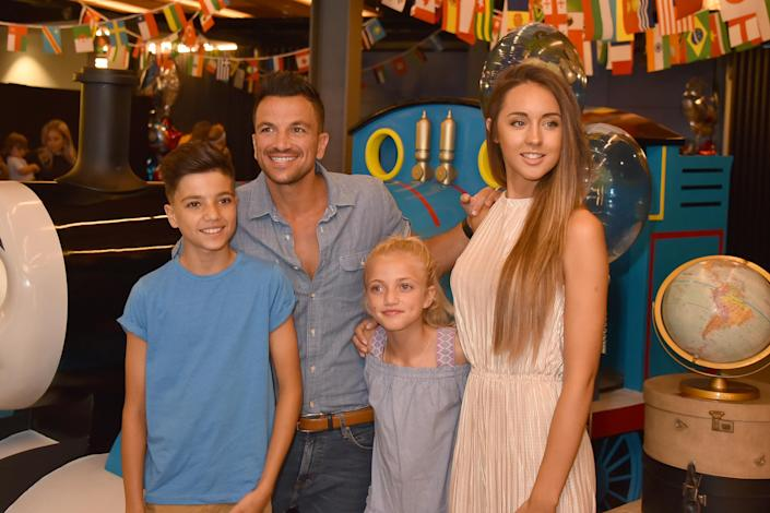 Princess Andre with brother Junior, father Peter Andre and step-mother Emily MacDonagh. (Getty Images)