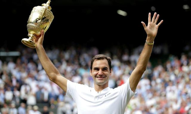 <span>Roger Federer after defeating Marin Cilic last July, giving him his eighth Wimbledon singles title.</span> <span>Photograph: Daniel Leal-Olivas/Reuters</span>