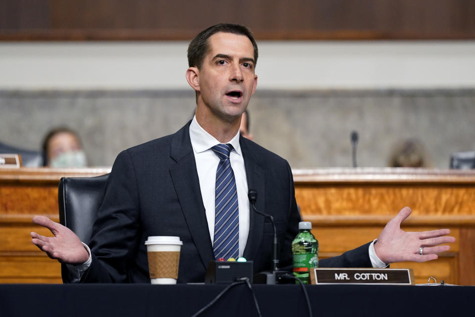 Sen. Tom Cotton, R-Ark., speaks during a Senate Armed Services Committee hearing on the conclusion of military operations in Afghanistan and plans for future counterterrorism operations, Tuesday, Sept. 28, 2021, on Capitol Hill in Washington. (Patrick Semansky/AP via Pool)