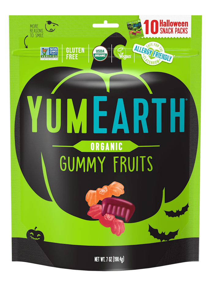 """<p>Your kids will love the juicy, fruity flavors and the fun shapes, but you'll love these <product href=""""https://yumearth.com/products/organic-halloween-gummy-fruits"""" target=""""_blank"""" class=""""ga-track"""" data-ga-category=""""internal click"""" data-ga-label=""""https://yumearth.com/products/organic-halloween-gummy-fruits"""" data-ga-action=""""body text link"""">YumEarth Organic Halloween Gummy Fruits</product> ($7 for 10 bags) because they are naturally sweetened and the colors come from real fruits like apples, carrots, and even pumpkins.</p>"""