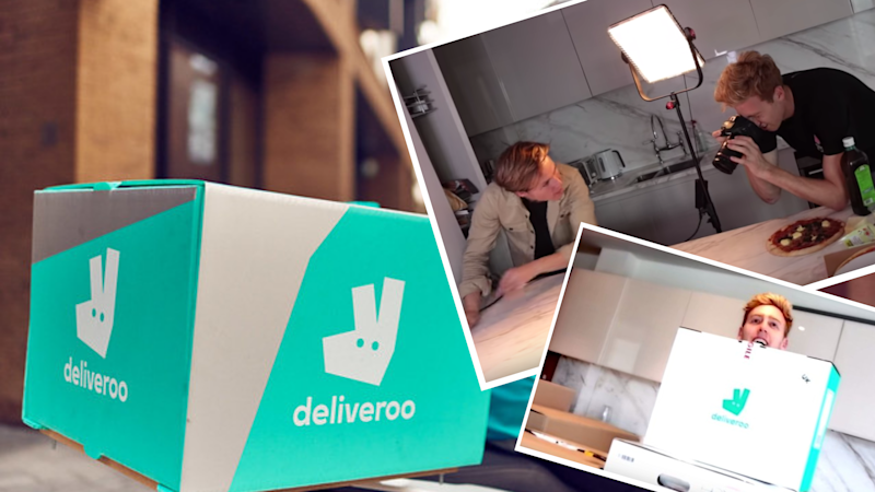 Pictured: Deliveroo delivery box, and YouTuber Josh Pieters' Waitrose food experiment. Images: Deliveroo, YouTube (Josh Pieters)