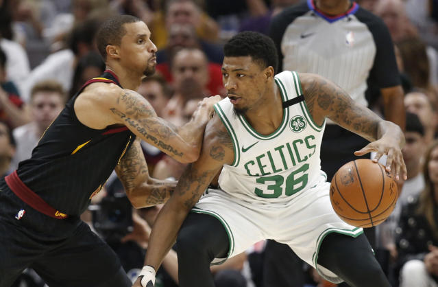 "<a class=""link rapid-noclick-resp"" href=""/nba/players/5317/"" data-ylk=""slk:Marcus Smart"">Marcus Smart</a> and the <a class=""link rapid-noclick-resp"" href=""/nba/teams/bos"" data-ylk=""slk:Celtics"">Celtics</a> reached a deal that keeps him in Boston for four more seasons.    (AP)"