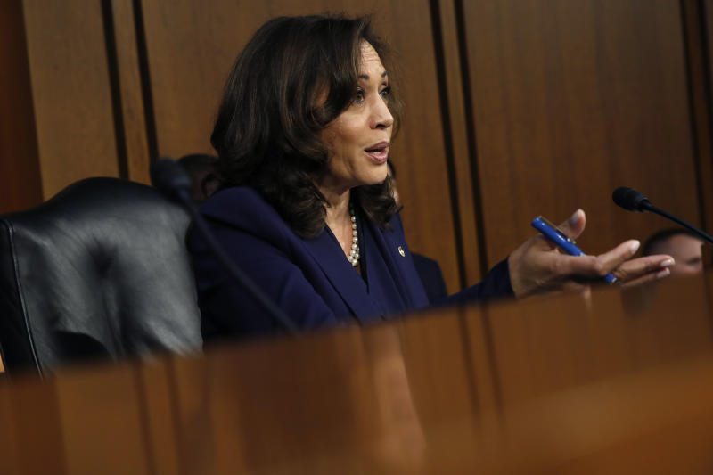 Sen. Kamala Harris D-Calif. questions President Donald Trump's Supreme Court nominee Brett Kavanaugh in the evening of the second day of his Senate Judiciary Committee confirmation hearing Wednesday Sept. 5 2018 on Capitol Hill in Washington