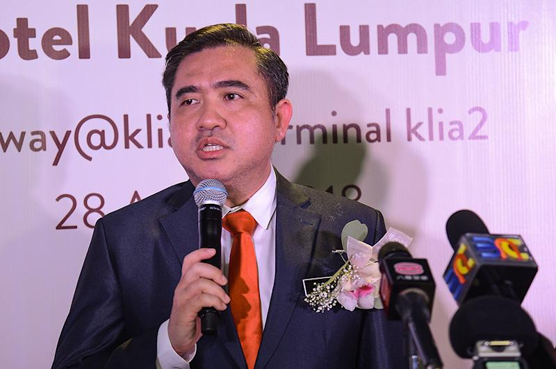 Transport Minister, Anthony Loke, speaks to reporters during the launch of Aerotel Kuala Lumpur in KLIA2, Sepang August 28, 2018. — Picture by Miera Zulyana