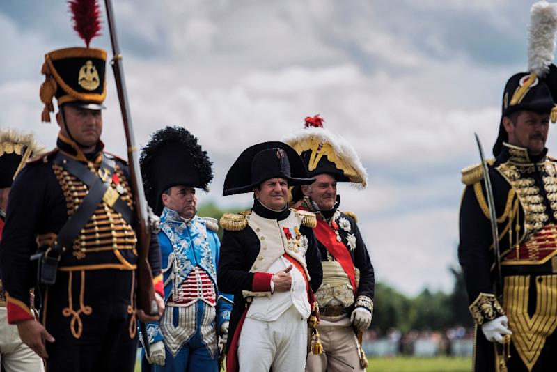 The events mark a pivotal moment in European history, when around 93,000 French troops led by Napoleon faced off against 125,000 British, German and Belgian-Dutch forces commanded by the Duke of Wellington and Marshal Bluecher (AFP Photo/Jeff Pachoud)