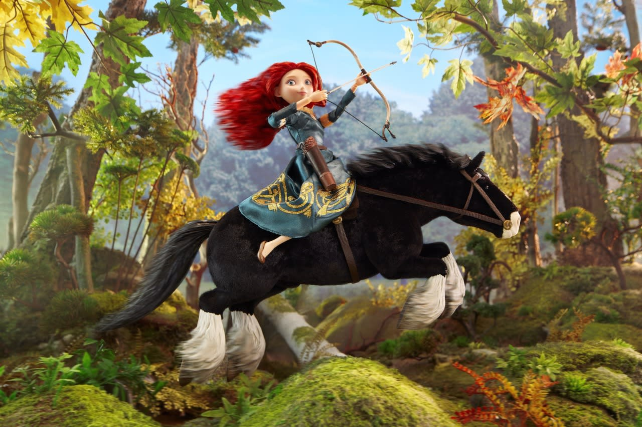 """<p>""""With Merida the biggest challenge was capturing the energy of her wild and joyous ride,"""" McCarty says. """"The sets and styling did so much in-camera, but I wanted more. We had thought about using a wind machine, but the amount of scale force needed would have blown the rest of the set into the next county, so in the end, I settled for one of the few pieces of digital effects that you'll see in the shots."""" <i>(Merida is from the Disney Store line of Disney Princess dolls.) </i></p>"""