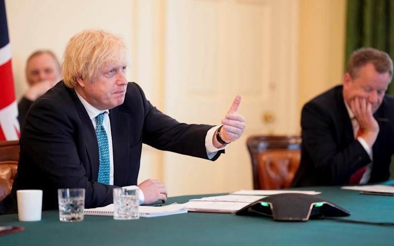 Boris Johnson and David Frost, the UK's chief negotiator, during video talks with the EU's three presidents. - Andrew Parsons/10 Downing St/Reuters
