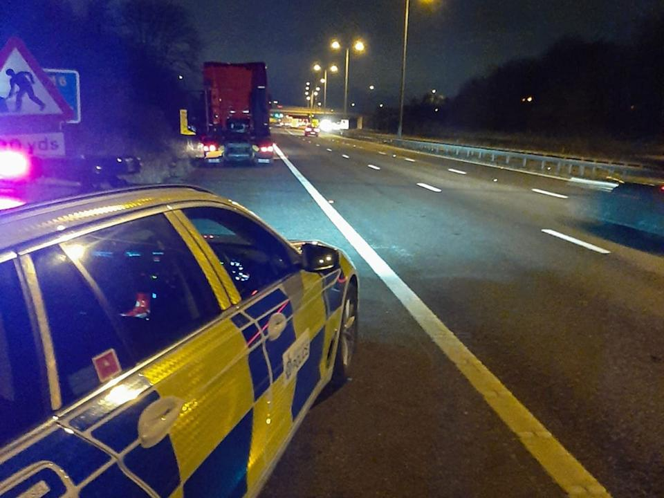 The man had fallen out of the cab of his lorry (pictured) on the M6 near Coventry: Warwickshire Police/Facebook