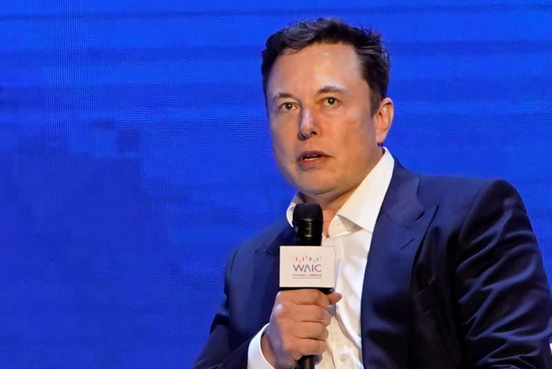 FILE PHOTO: Tesla Inc CEO Elon Musk attends the World Artificial Intelligence Conference (WAIC) in Shanghai