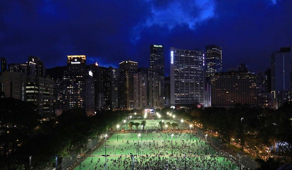 The court heard that some 20,000 people took part in the banned rally at Victoria Park last year. Photo: May Tse