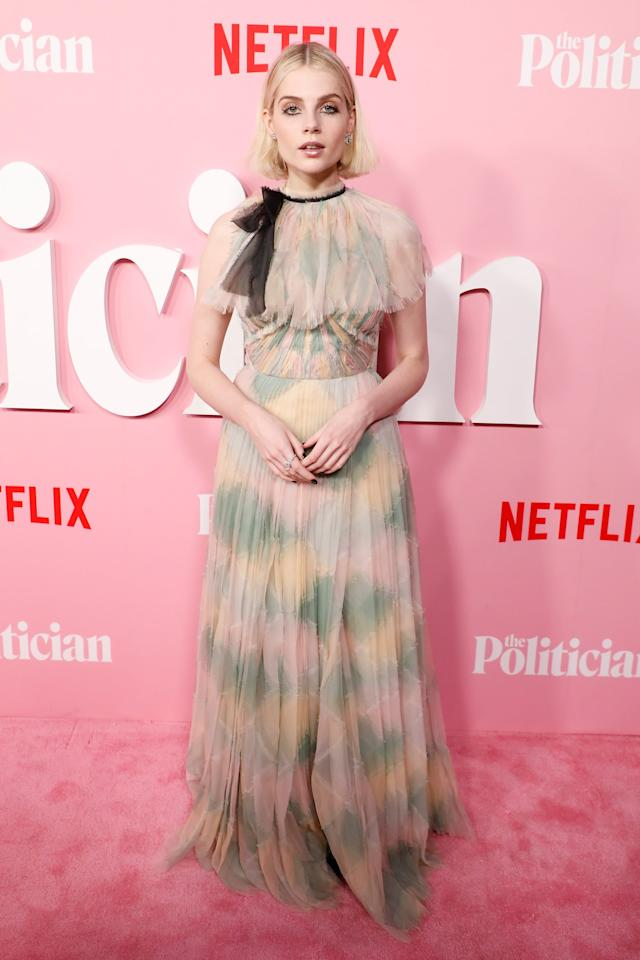 <p>Lucy looked beautiful in a colorful pastel Dior gown at <strong>The Politician</strong>'s premiere at DGA Theater in September 2019.</p>