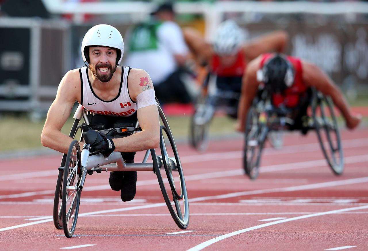 LYON, FRANCE - JULY 21: Brent Lakatos of Canada wins in the Men's 400m T53 final during day two of the IPC Athletics World Championships on July 21, 2013 in Lyon, France. (Photo by Julian Finney/Getty Images)