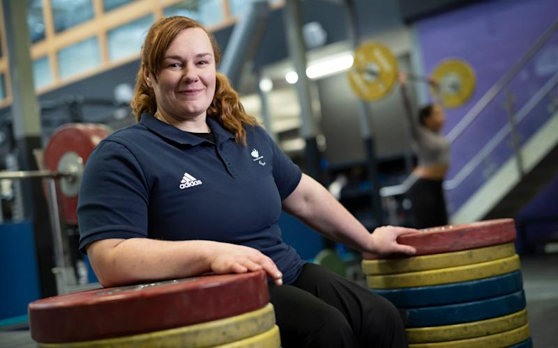 Para Powerlifter Louise Sugden during a training break ahead of the upcoming Para Powerlifting World Cup in Manchester this weekend - David Rose
