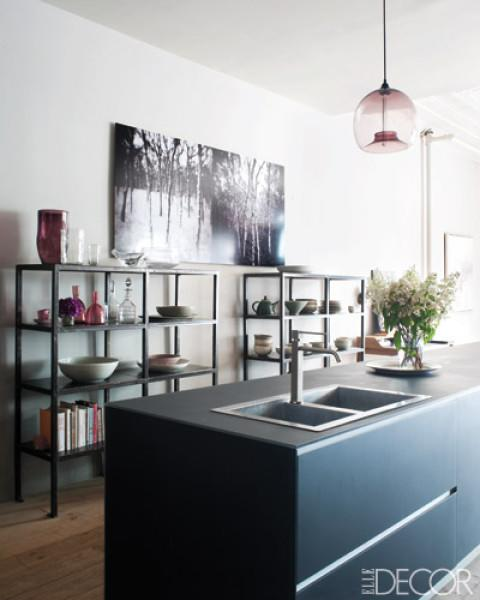 "<div class=""caption-credit"">Photo by: William Waldron for ELLE DECOR</div><div class=""caption-title"">A Pair of Steel Shelves</div><p>  A glass pendant light hangs above a <a rel=""nofollow"" href=""http://www.valcucine.com/"" target=""_blank"">Valcucine</a> island in the Manhattan kitchen of Harriet Maxwell Macdonald and Andrew Corrie ; the photograph is by <a rel=""nofollow"" href=""http://www.ericslayton.com/"" target=""_blank"">Eric Slayton</a>. </p> <p>  <b>MORE from ELLE DECOR</b>  <br> </p> <ul>  <li>  <b><a rel=""nofollow"" href=""http://www.elledecor.com/celebrity-style/homes/tom-brady-gisele-bundchen-house?link=rel&dom=yah_life&src=syn&mag=edc"" target="""">Inside the House Tom and Gisele Are Ditching for Boston</a></b>  </li>  <li>  <a rel=""nofollow"" href=""http://www.elledecor.com/design-decorate/talent/how-to-decorate-a-dining-room-color-eskayel?link=rel&dom=yah_life&src=syn&mag=edc"" target=""""><b>How To Decorate A Dining Room With Chic, Bold Colors</b></a>  </li> </ul>"