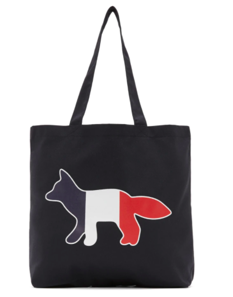 Maison Kitsune navy tricolor fox tote, 27% off. US$51(was US$69.55). PHOTO: Ssense